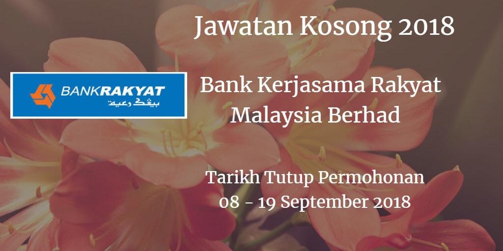 Jawatan Kosong Bank Kerjasama Rakyat Malaysia Berhad 08 - 19 September 2018