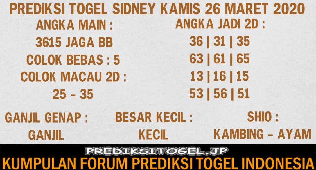 Prediksi Togel Sidney Kamis 26 Maret 2020 - Prediksi Togel JP