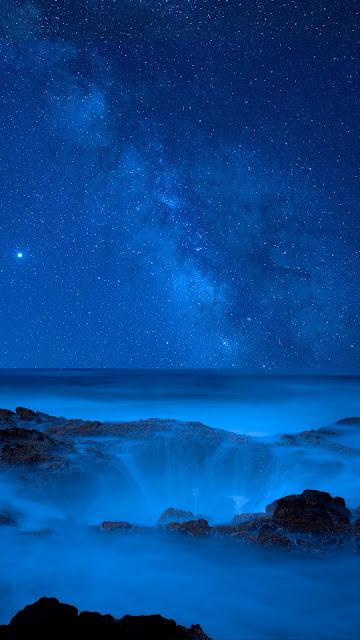 Sea, starry sky, night, waterfall