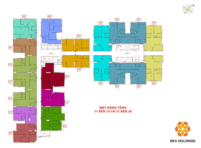 Mặt bằng tầng 11-15 và 21-26 chung cư Bea sky