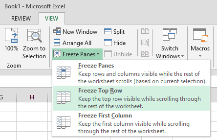 Excel 2010 Freeze Panes under View Menu