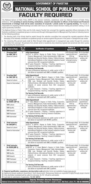 Faculty Jobs in Pakistan The National School of Public Policy