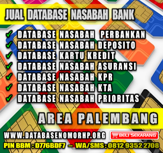 Jual Database Nasabah Bank Wilayah Palembang