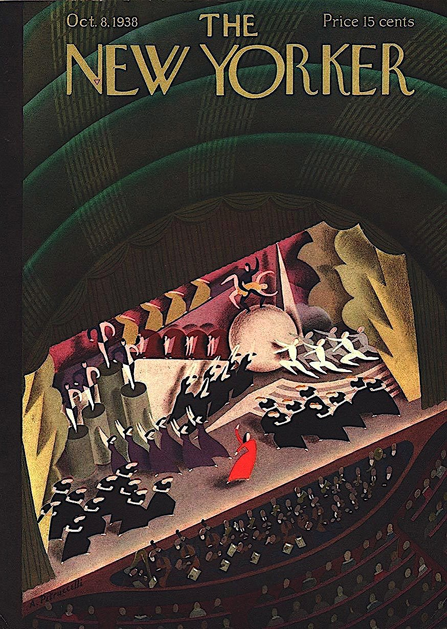 an Antonio Petruccelli illustration for October 1938 New Yorker Magazine cover, the theatre stage