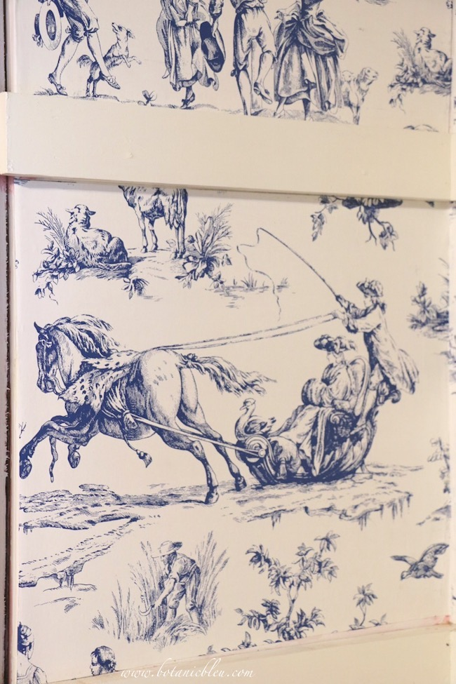 French Country Pantry Makeover winter scene sleigh from Seasons Toile Wallpaper