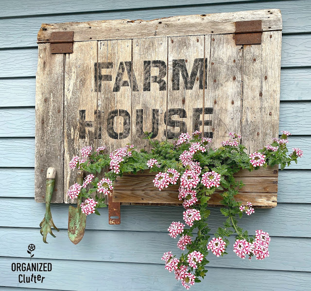 "Outdoor ""Farmhouse"" Barn Door Sign/Planter Box with Old Sign Stencils"