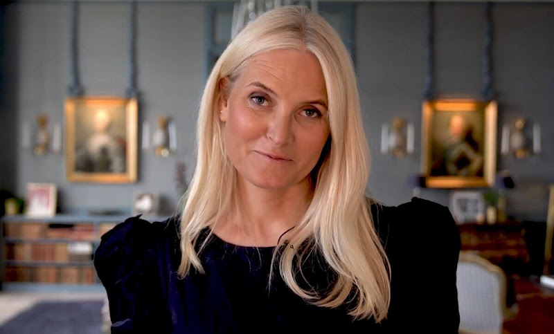 Crown Princess Mette-Marit wore a black, navy embroidery blouse, dress from Vilshenko