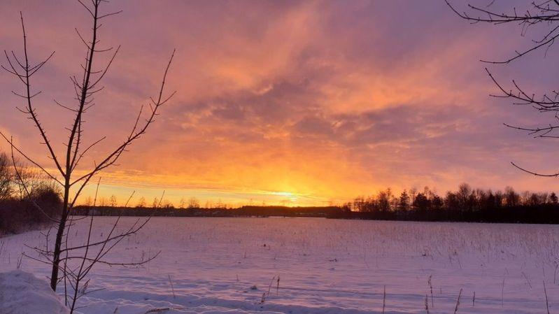 Sonnenaufgang über dem verschneiten Feld