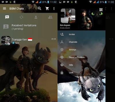 BBM MOD Night Fury V3.0.0.18 APK Terbaru 2016