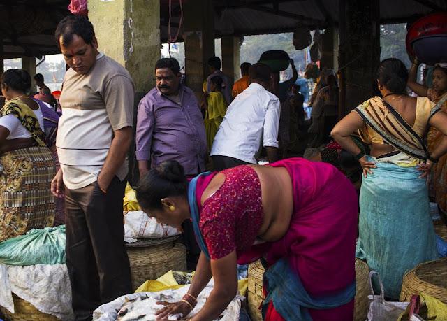 customers, sea food, fish, buyers, fish market, sassoon docks, mumbai, india,