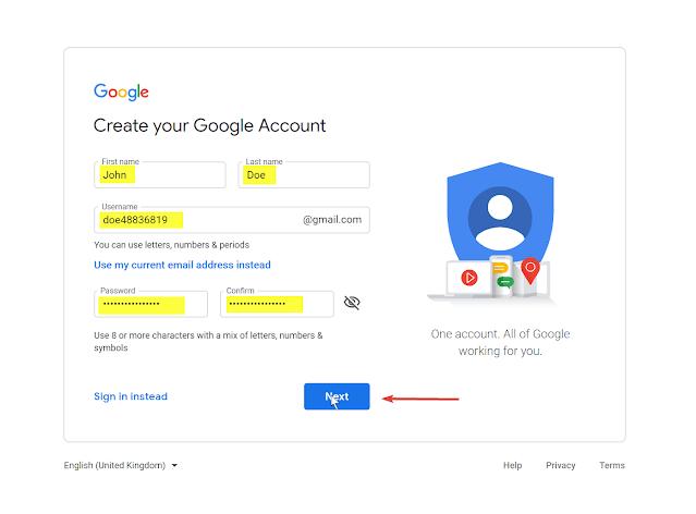 أدخل التفاصيل الأساسية لحساب Google