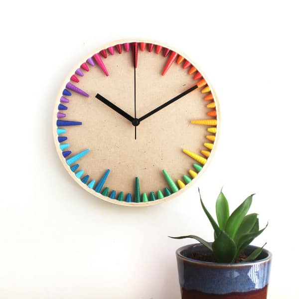 Colorfully quilled minimal design wall art clock