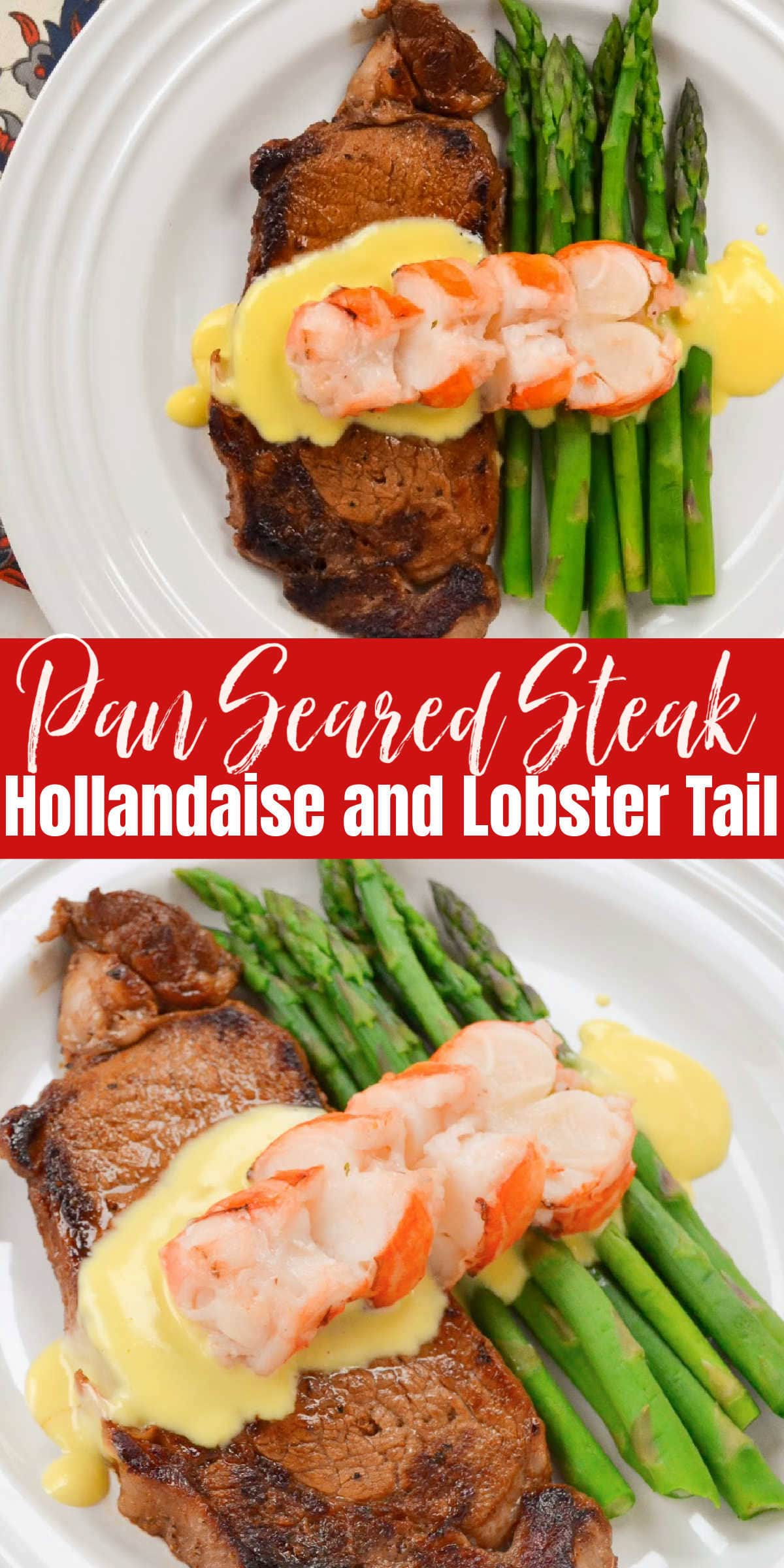 Pan Seared Steak with Hollandaise Sauce and Lobster Tail
