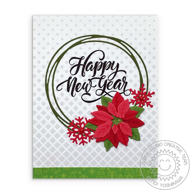 Sunny Studio Stamps: Happy New Year Holiday Card (using Snowflake Circle Frame, Subtle Grey Tones Paper & Layered Poinsettia Dies)