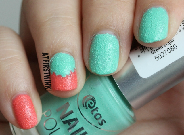 Etos nail polish coral sugar and green sugar review