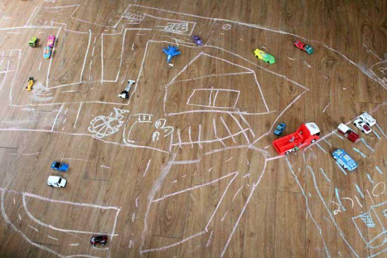 indoor activities for kids -  chalk roads