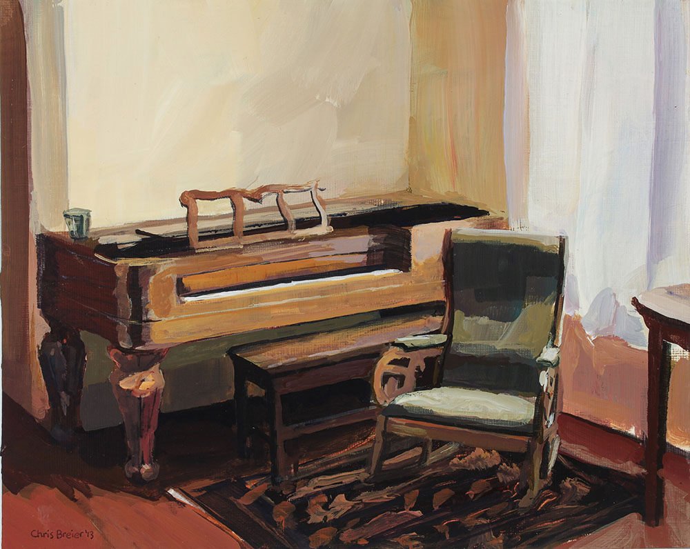 Acrylic painting of a piano and rocking chair in the mansion at sonnenberg gardens in canandaigua ny.