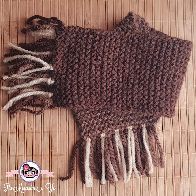 Conjunto bufanda bebé tejido dos agujas monerías en fieltro pamonisimayo