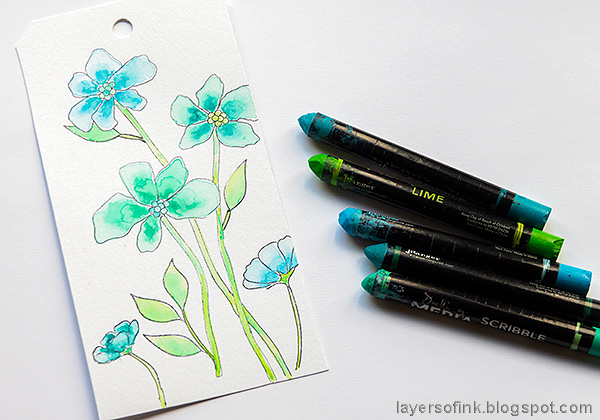 Layers of ink - Watercolor floral on black background tutorial by Anna-Karin Evaldsson. Watercolor the flowers.