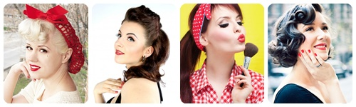 collage maquillaje pin up