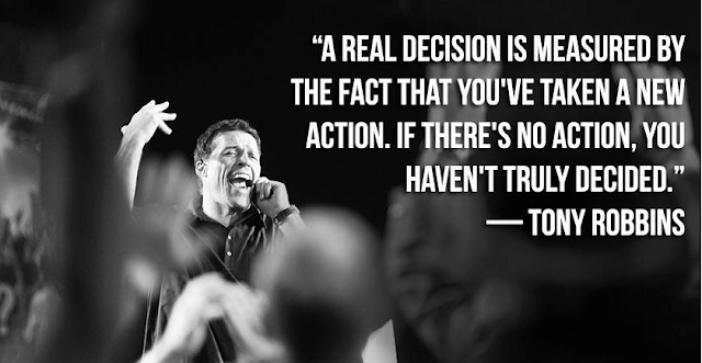 Tony Robbins real decision quote