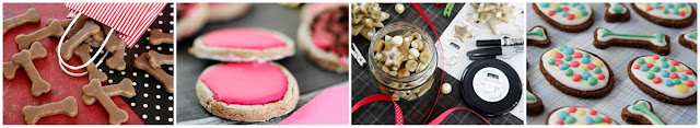 A collage of DIY dog treat decorating ideas for iced and glazed homemade treats
