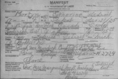 "Ancestry.com, ""Detroit Border Crossings and Passenger and Crew Lists, 1905-1957,"" database on-line, Ancestry.com (www.ancestry.com : accessed 7 Jan 2019), entry for Catharine Martyn, 31 Dec 1925; citing The National Archives at Washington, D.C; Washington, D.C; Series Title: Card Manifests (Alphabetical) of Individuals Entering through the Port of Detroit, Michigan, 1906-1954; NAI: 4527226; Record Group Title: Records of the Immigration and Naturalization Service, 1787-2004; Record Group: Records of the Immigration and Naturalization Service, 1787-2004."
