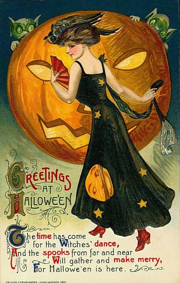 Старинные открытки в честь Хэллоуина - 01