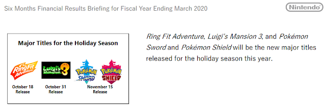 Nintendo Switch holiday season 2019 games Ring Fit Adventure Luigi's Mansion Pokémon Sword Shield