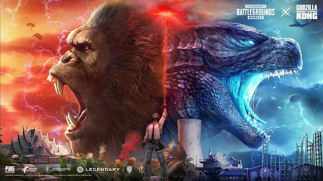 Imagem digital fictícia de personagem contendo Godzilla à direita e Kong à esquerda, no estilo de abertura de jogo de luta, cada um virado para seu respectivo lado, mas não em um ringue, um homem no centro como se estivesse sinalizando o início da luta