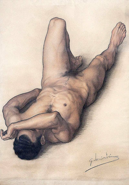 Gerardo Sacristán Torralba (1907-1964) Dibujo de desnudo masculino en escorzo Carboncillo, 1929. Peintre espagnol