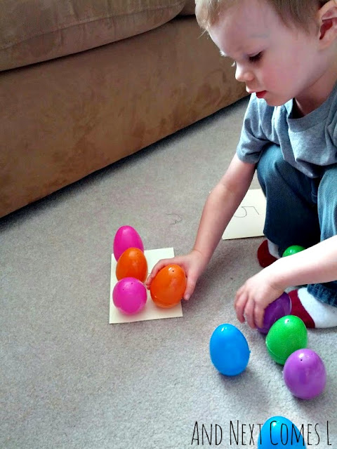 J adding with wobbly Easter eggs from And Next Comes L
