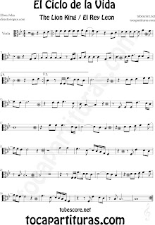 Partitura de El Ciclo de la Vida de Viola. Partitura de Viola de El Rey León en clave de do en 3º línea. Circle of life Viola music scores, Viola sheet music for The Lion King