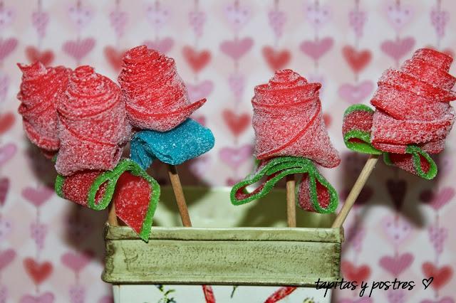 Rosas dulces de gominolas