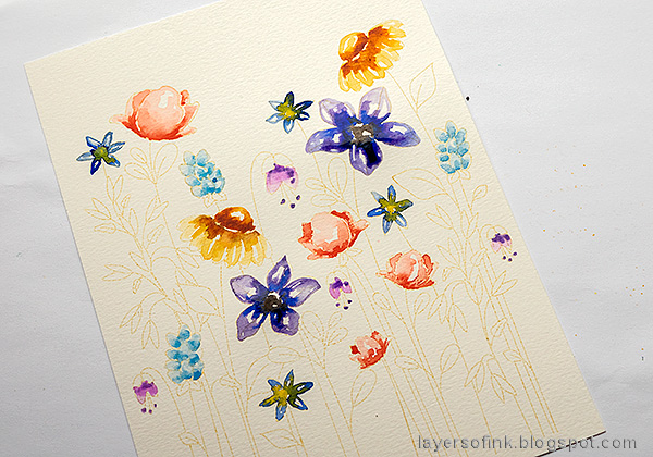 Layers of ink - Watercolor Floral Garden no-line coloring tutorial by Anna-Karin Evaldsson. Watercolor the flowers.