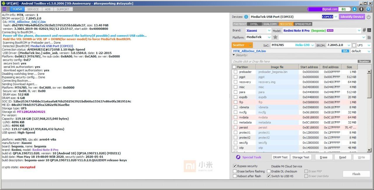 Preview UFI Update Bypass Mediatek Redmi Note 8 Pro MT6785