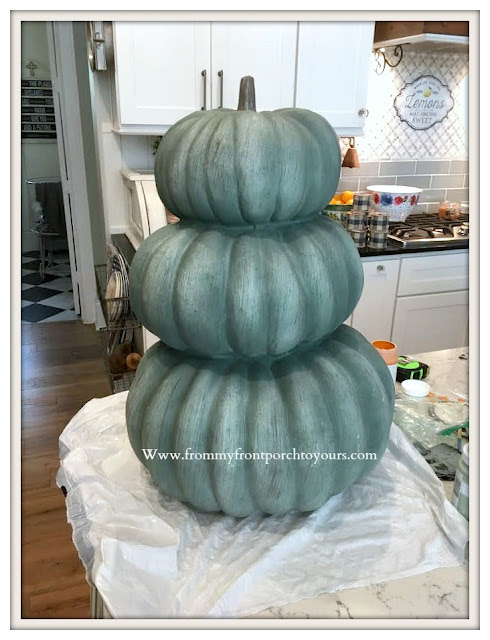 Chalk -Painted- Pumpkin- Stack-Before-From My Front Porch To Yours