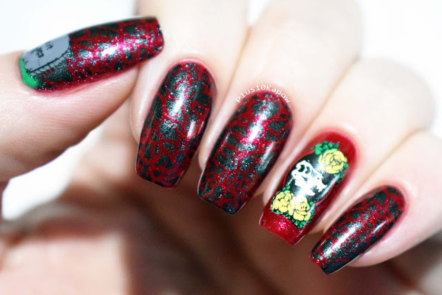 Maniology Rebel Yell stamping Dinosaur nerdy nails