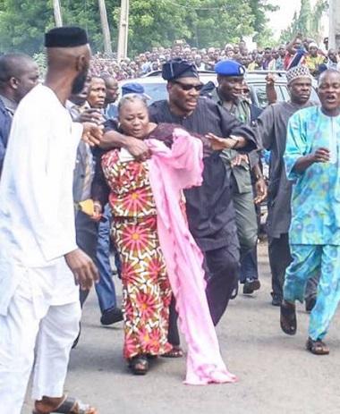 Pandemonium At Senator Adeleke's Burial