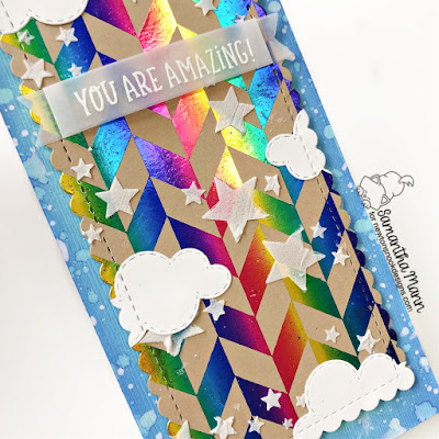 You are Amazing Card by Samantha Mann for Newton's Nook Designs and Thermoweb, Slimline Card, Cards, Deco Foil, Lisa Frank, Rainbow, Stencil #newtonsnook #newtonsnookdesigns #thermoweb #decofoil #rainbow #foil #slimline #slimlinecards #cards #cardmaking