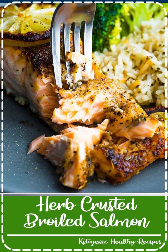 Herb crusted broiled salmon is slightly crispy on the outside Herb Crusted Broiled Salmon