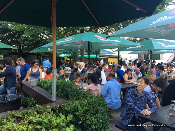 overview of beer garden at Bohemian Hall & Beer Garden in Astoria, Queens, New York