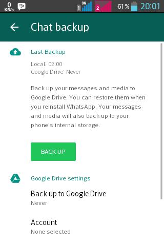 mencadangkan chat whatsapp dengan google drive