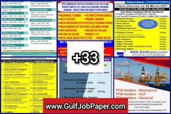 Gulf Overseas Jobs~6 March