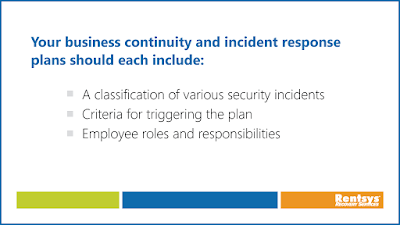 List of things business continuity and incident response plans should address