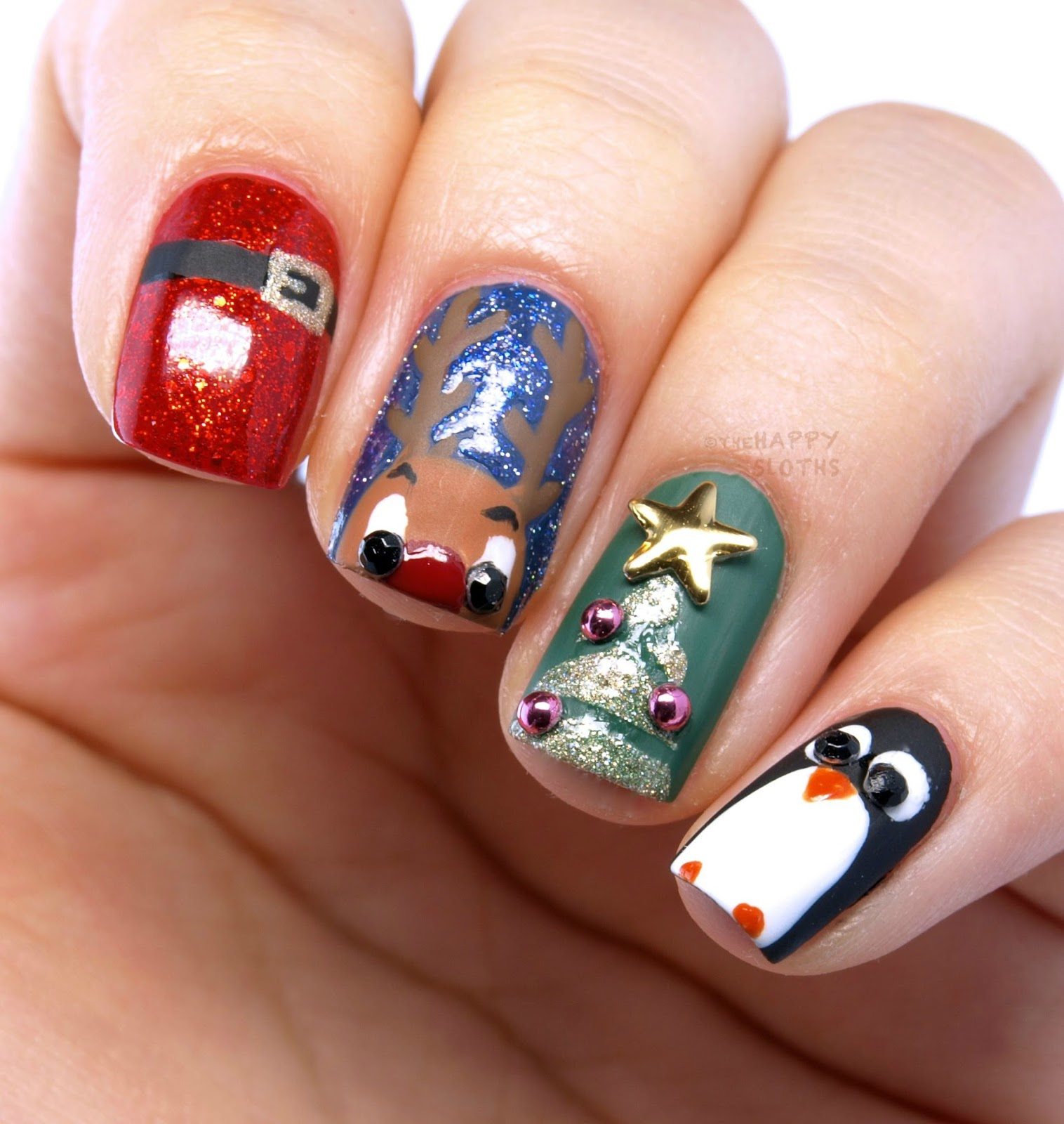 Christmas Nails: Santa's Suit, Reindeer, Christmas Tree & A Penguin Cutie