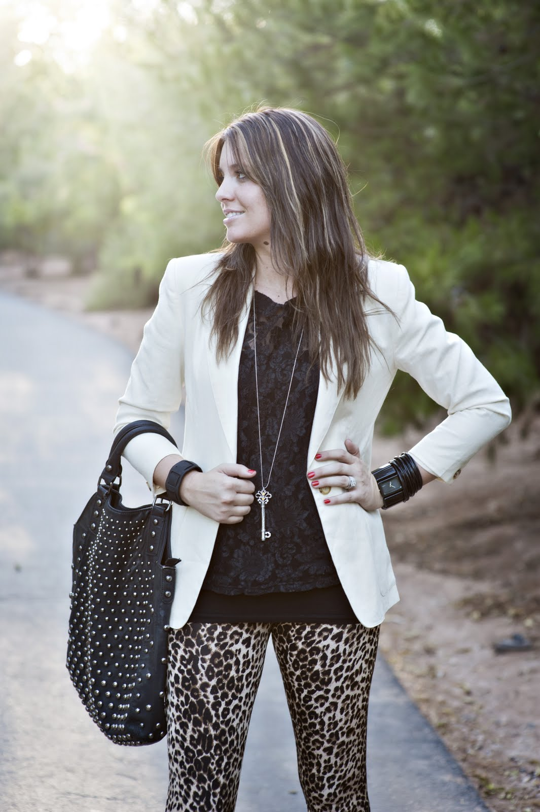 Black Top, Black Purse, Cream Blazer