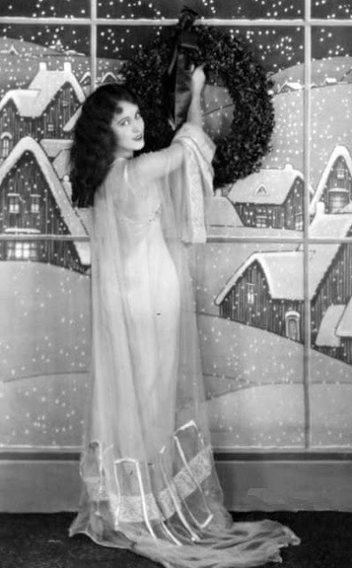 Fay Wray and Christmas decorations