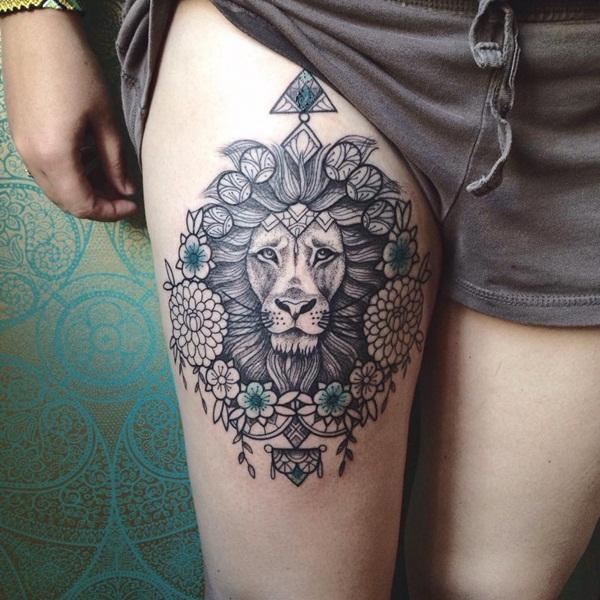 lion-tatouage féminin-10