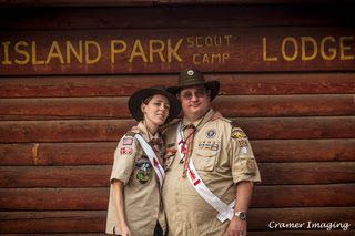 Cramer Imaging staff wearing Boy Scouts of America uniforms and Order of the Arrow sashes at Island Park Scout Camp in Targhee National Forest, Idaho